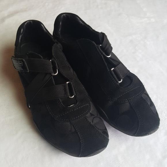 4775cdeb020d Coach Shoes - Coach Kyrie Black Elastic Strap Sneakets